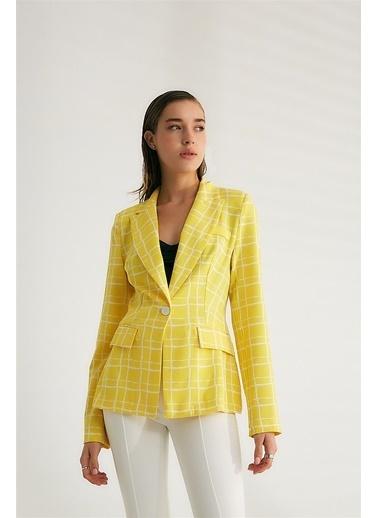 Robin Süs Cepli Desenli Ceket Sarı Sarı